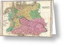 1827 Finley Map Of Germany Greeting Card