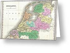 1827 Finley Map Of Holland Or The Netherlands Greeting Card