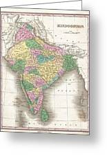 1827 Finley Map Of India  Greeting Card