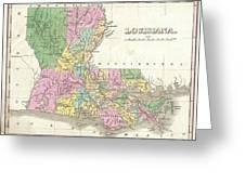 1827 Finley Map Of Louisiana Greeting Card
