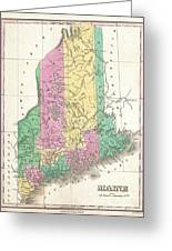 1827 Finley Map Of Maine Greeting Card