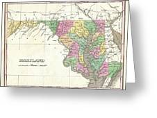 1827 Finley Map Of Maryland Greeting Card