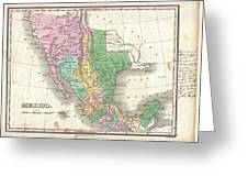 1827 Finley Map Of Mexico Upper California And Texas Greeting Card