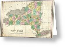 1827 Finley Map Of New York State Greeting Card