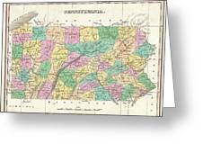 1827 Finley Map Of Pennsylvania Greeting Card