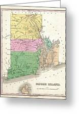 1827 Finley Map Of Rhode Island Greeting Card