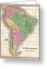 1827 Finley Map Of South America Greeting Card