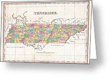 1827 Finley Map Of Tennessee Greeting Card