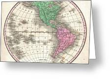 1827 Finley Map Of The Western Hemisphere Greeting Card