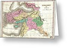 1827 Finley Map Of Turkey In Asia Iraq And Israel Greeting Card