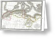 1829 Lapie Map Of The Eastern Mediterranean Morocco And The Barbary Coast Greeting Card