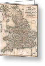 1830 Pigot Pocket Map Of England And Wales Greeting Card