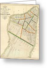 1831 Hooker Map Of New York City Greeting Card