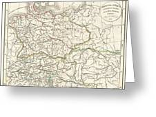 1832 Delamarche Map Of Germany In Roman Times Greeting Card