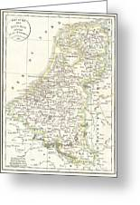 1832 Delamarche Map Of Holland And Belgium Greeting Card