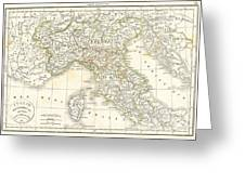 1832 Delamarche Map Of Northern Italy And Corsica Greeting Card