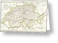 1832 Delamarche Map Of Switzerland Greeting Card