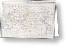 1832 Malte Brun Map Of The World On Mercator Projection Greeting Card