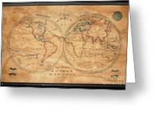 1833 School Girl Manuscript Wall Map Of The World On Hemisphere Projection  Greeting Card
