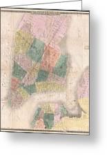 1835 David Burr Map Of New York City Greeting Card
