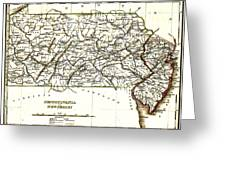 1835 Pennsylvania And New Jersey Map Greeting Card