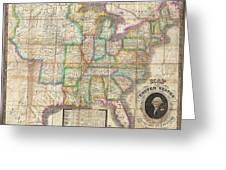 1835 Webster Map Of The United States Greeting Card