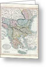1836 Cary Map Of Greece And The Balkans Greeting Card