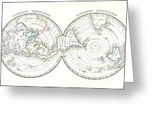 1838 Bradford Map Of The World On Polar Projection Greeting Card
