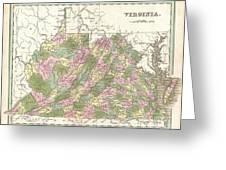 1838 Bradford Map Of Virginia Greeting Card