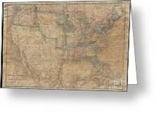 1839 Burr Wall Map Of The United States  Greeting Card