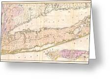 1842 Mather Map Of Long Island New York Greeting Card by Paul Fearn