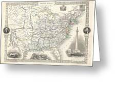 1851 Tallis And Rapkin Map Of The United States Greeting Card