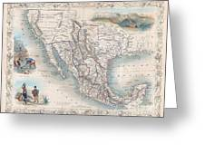 1851 Tallis Map Of Mexico Texas And California  Greeting Card