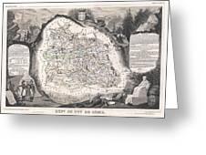 1852 Levasseur Map Of The Department Du Puy De Dome France Greeting Card