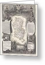 1852 Levasseur Map Of The Department Du Rhone France  Beaujolais Wine Region Greeting Card