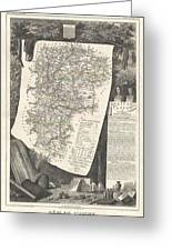 1852 Levasseur Map Of The Department L Aisne France Greeting Card