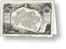 1852 Levasseur Map Of The Department L Allier France  Saint Pourcain Wine Region Greeting Card
