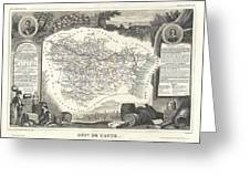 1852 Levasseur Map Of The Department L Aude France Greeting Card