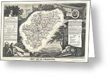1852 Levasseur Map Of The Department La Charente France Cognac And Pineau Wine Region Greeting Card