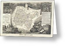 1852 Levasseur Map Of The Department L'ain France Bugey Wine Region Greeting Card