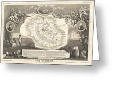 1852 Levasseur Map Of The Reunion Or The Ile Bourbon Indian Ocean Greeting Card