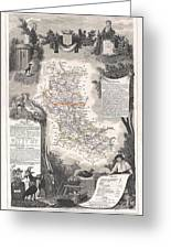 1852 Levasseur Mpa Of The Department De La Loire France Loire Valley Region Greeting Card