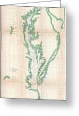 1852 Us. Coast Survey Chart Or Map Of The Chesapeake Bay And Delaware Bay Greeting Card