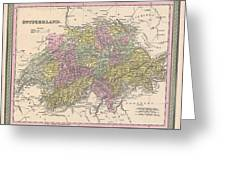 1853 Mitchell Map Of Switzerland  Greeting Card
