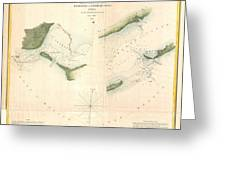 1853 Us Coast Survey Chart Or Map Of St Georges Sound Florida Greeting Card
