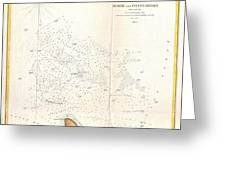 1853 Us Coast Survey Map Of The Romer And Flynns Shoals Near Coney Island New York Greeting Card