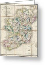 1853 Wyld Pocket Or Case Map Of Ireland Greeting Card