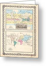 1855 Antique World Maps Illustrating Principal Features Of Meteorology Rain And Principal Plants Greeting Card