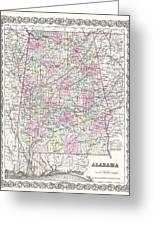 1855 Colton Map Of Alabama Greeting Card