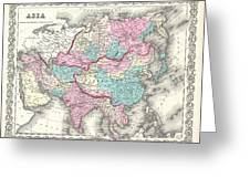 1855 Colton Map Of Asia Greeting Card